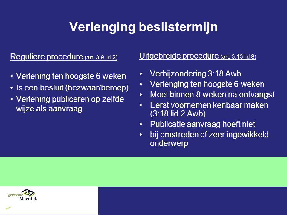 Verlenging beslistermijn Reguliere procedure (art.