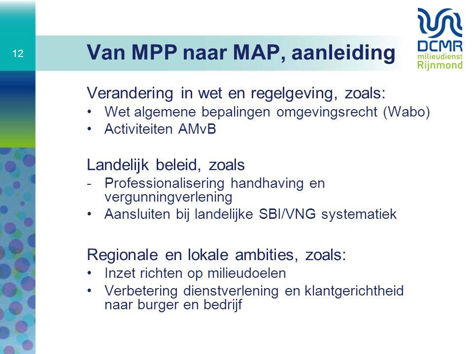 Van MPP naar MAP, aanleiding Verandering in wet en regelgeving, zoals: Wet algemene bepalingen omgevingsrecht (Wabo) Activiteiten AMvB Landelijk belei