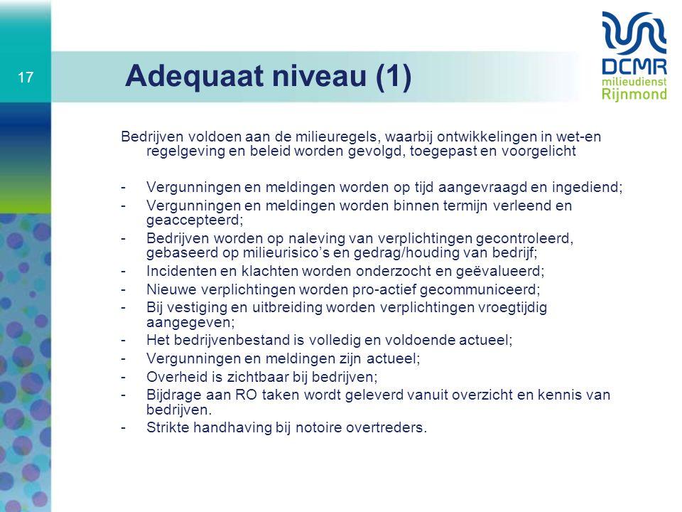 Adequaat niveau (1) Bedrijven voldoen aan de milieuregels, waarbij ontwikkelingen in wet-en regelgeving en beleid worden gevolgd, toegepast en voorgel