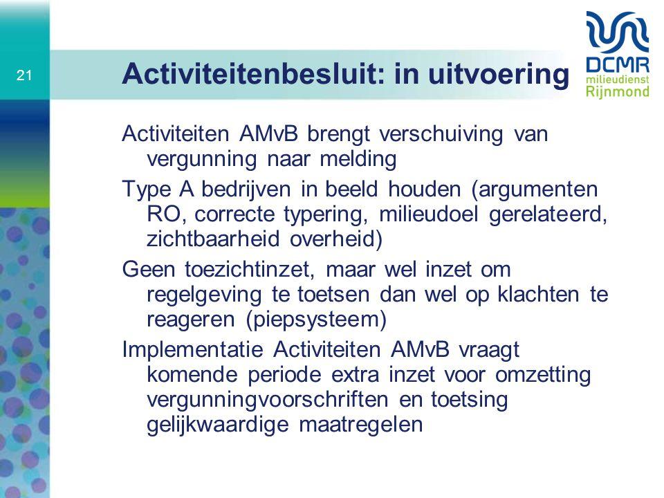Activiteitenbesluit: in uitvoering Activiteiten AMvB brengt verschuiving van vergunning naar melding Type A bedrijven in beeld houden (argumenten RO,