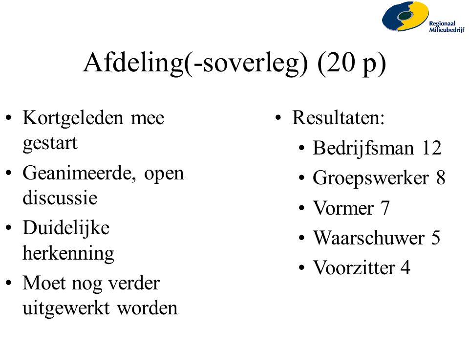 Afdeling(-soverleg) (20 p) Kortgeleden mee gestart Geanimeerde, open discussie Duidelijke herkenning Moet nog verder uitgewerkt worden Resultaten: Bed