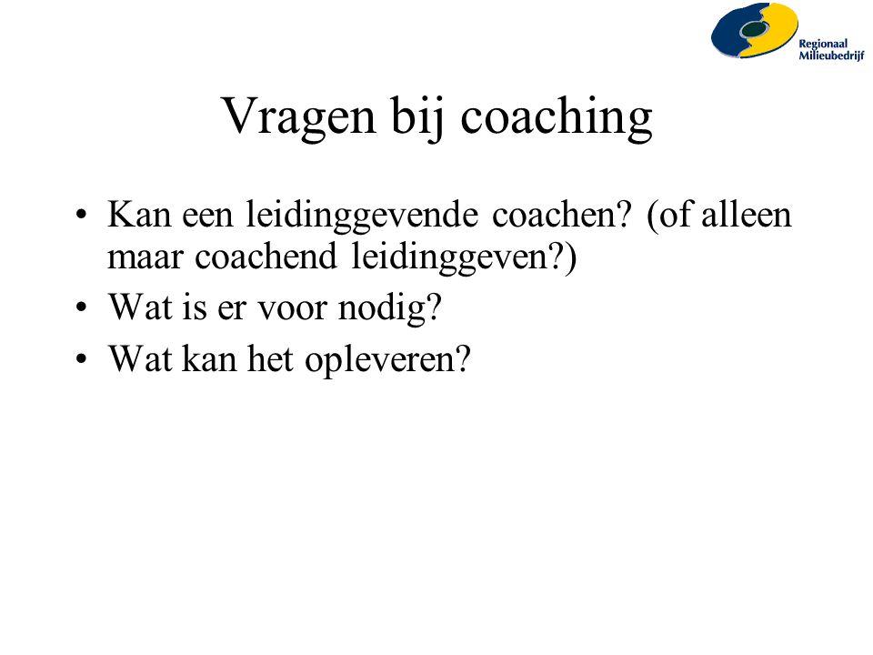 Vragen bij coaching Kan een leidinggevende coachen? (of alleen maar coachend leidinggeven?) Wat is er voor nodig? Wat kan het opleveren?