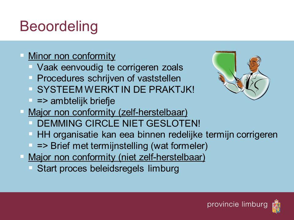 Beoordeling  Minor non conformity  Vaak eenvoudig te corrigeren zoals  Procedures schrijven of vaststellen  SYSTEEM WERKT IN DE PRAKTJK.