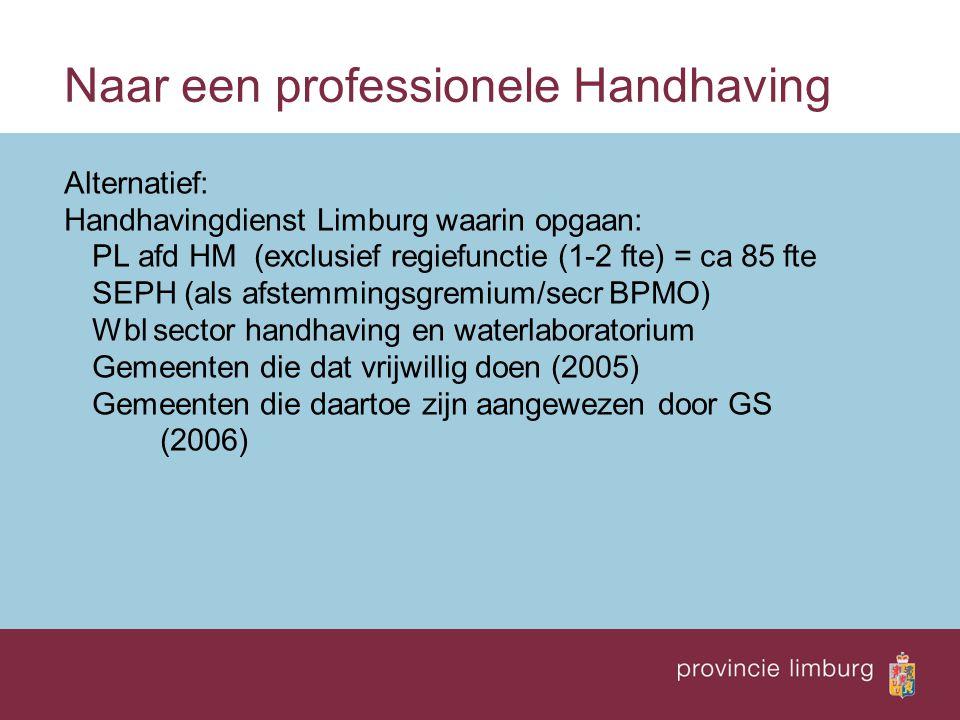 Naar een professionele Handhaving Alternatief: Handhavingdienst Limburg waarin opgaan: PL afd HM (exclusief regiefunctie (1-2 fte) = ca 85 fte SEPH (als afstemmingsgremium/secr BPMO) Wbl sector handhaving en waterlaboratorium Gemeenten die dat vrijwillig doen (2005) Gemeenten die daartoe zijn aangewezen door GS (2006)