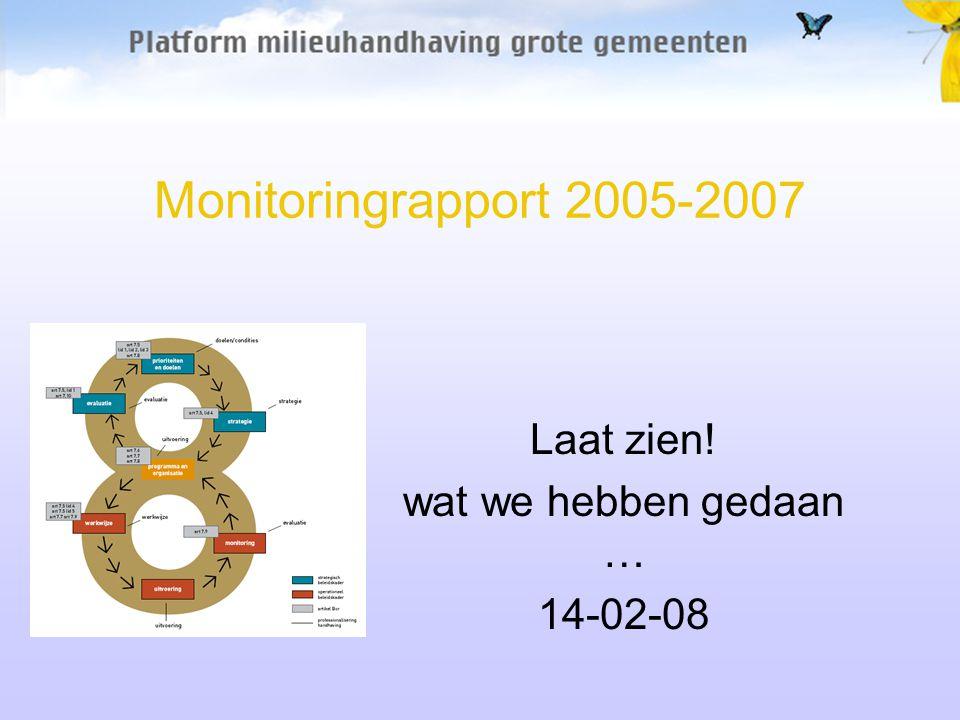Monitoringrapport 2005-2007 Laat zien! wat we hebben gedaan … 14-02-08