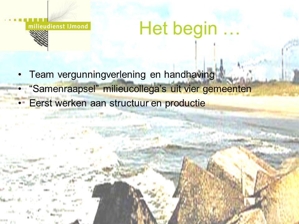 """Het begin … Team vergunningverlening en handhaving """"Samenraapsel"""" milieucollega's uit vier gemeenten Eerst werken aan structuur en productie"""