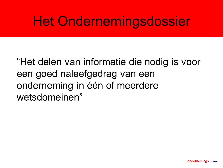 Het Ondernemingsdossier Het delen van informatie die nodig is voor een goed naleefgedrag van een onderneming in één of meerdere wetsdomeinen