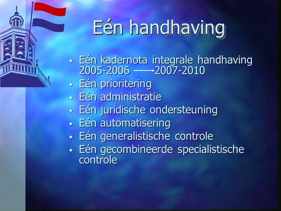 Eén handhaving w Eén kadernota integrale handhaving 2005-2006 2007-2010 w Eén prioritering w Eén administratie w Eén juridische ondersteuning w Eén automatisering w Eén generalistische controle w Eén gecombineerde specialistische controle