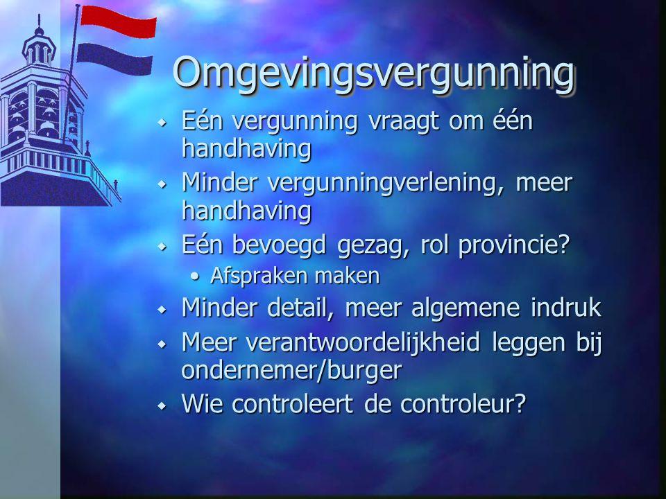 OmgevingsvergunningOmgevingsvergunning w Eén vergunning vraagt om één handhaving w Minder vergunningverlening, meer handhaving w Eén bevoegd gezag, rol provincie.