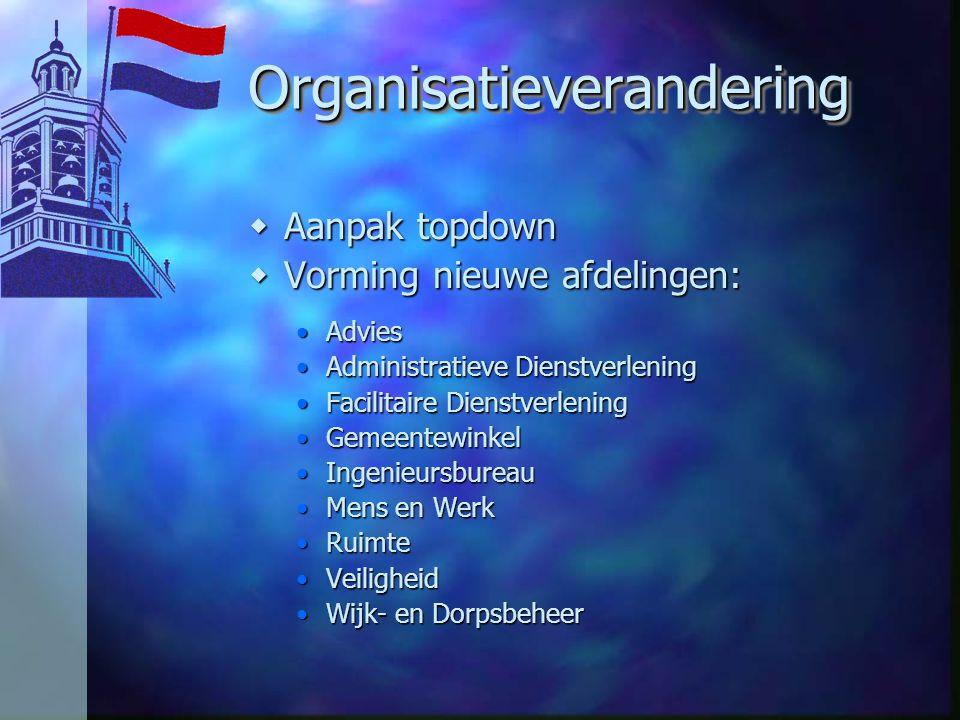 OrganisatieveranderingOrganisatieverandering wAanpak topdown wVorming nieuwe afdelingen: AdviesAdvies Administratieve DienstverleningAdministratieve D