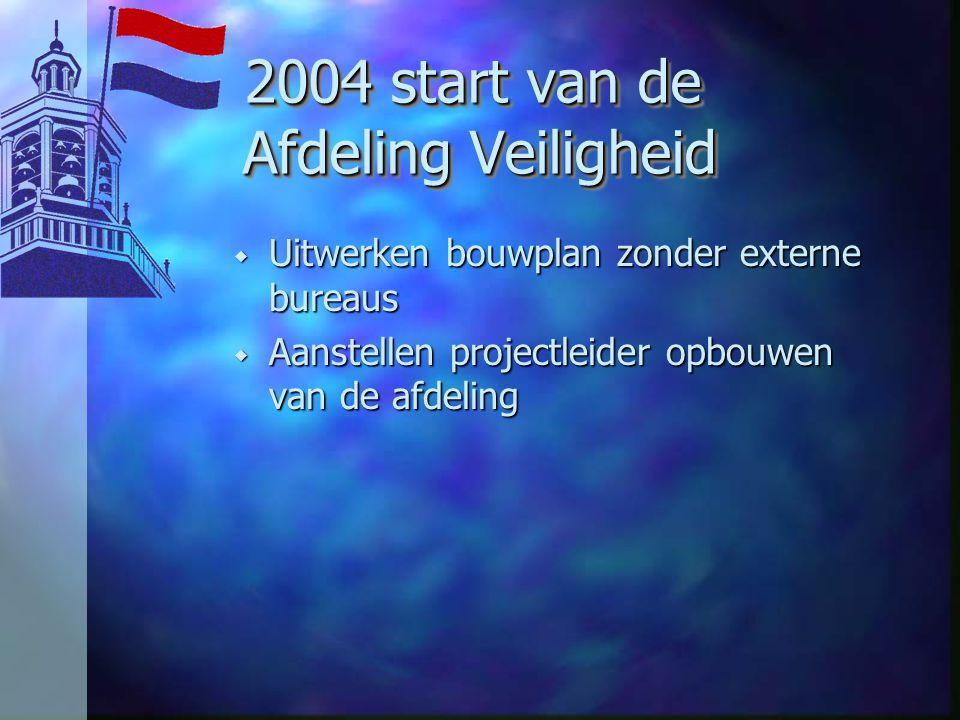 2004 start van de Afdeling Veiligheid 2004 start van de Afdeling Veiligheid w Uitwerken bouwplan zonder externe bureaus w Aanstellen projectleider opbouwen van de afdeling