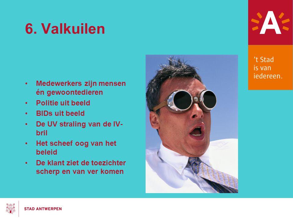 6. Valkuilen Medewerkers zijn mensen én gewoontedieren Politie uit beeld BIDs uit beeld De UV straling van de IV- bril Het scheef oog van het beleid D