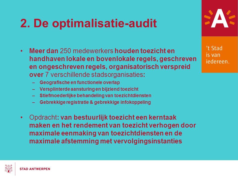2. De optimalisatie-audit Meer dan 250 medewerkers houden toezicht en handhaven lokale en bovenlokale regels, geschreven en ongeschreven regels, organ