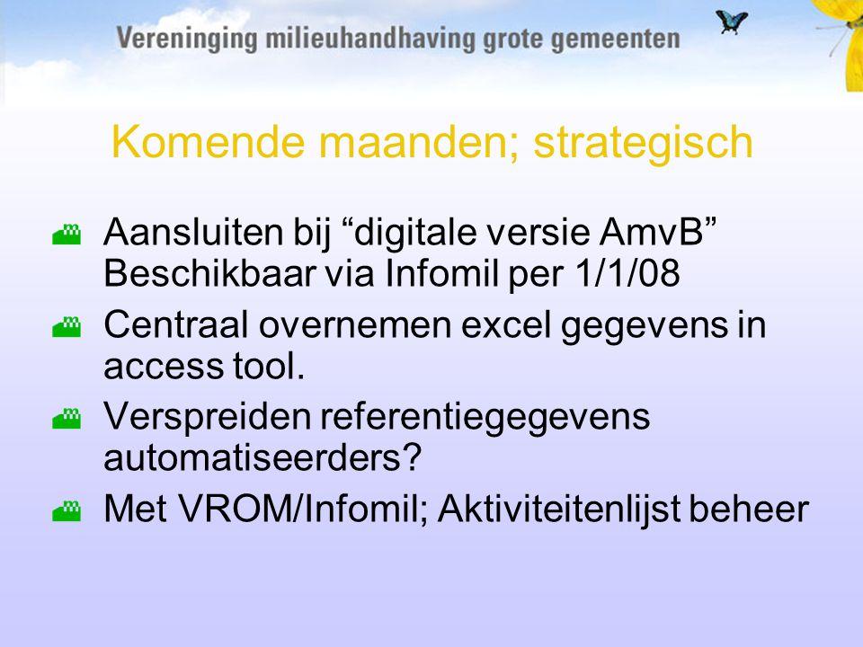 Komende maanden; strategisch Aansluiten bij digitale versie AmvB Beschikbaar via Infomil per 1/1/08 Centraal overnemen excel gegevens in access tool.