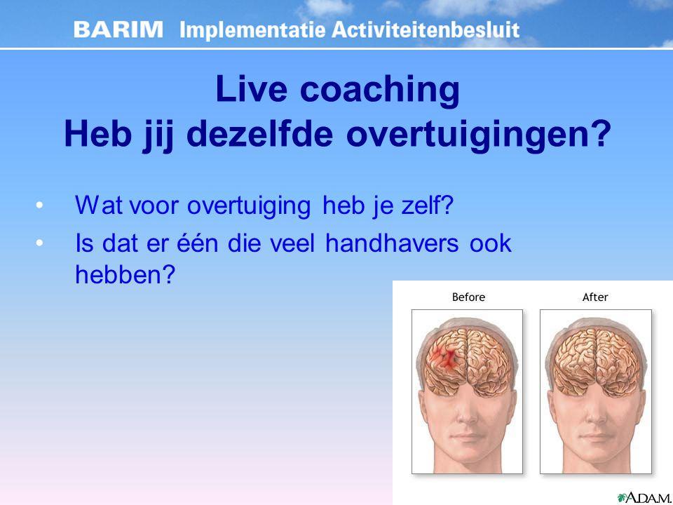 Live coaching Heb jij dezelfde overtuigingen. Wat voor overtuiging heb je zelf.