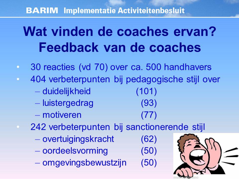 Wat vinden de coaches ervan. Feedback van de coaches 30 reacties (vd 70) over ca.