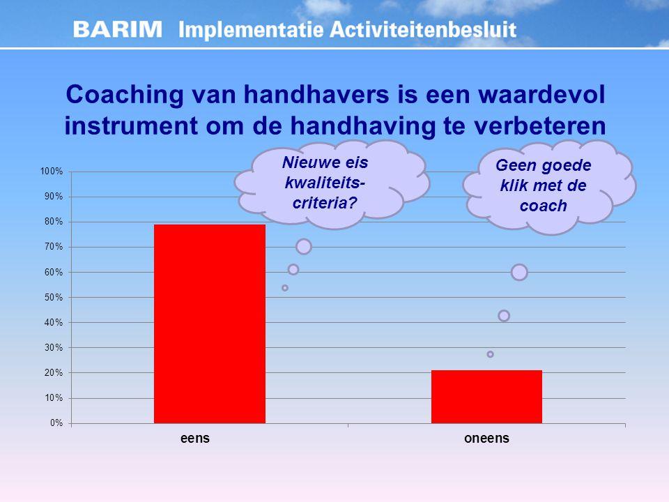 Coaching van handhavers is een waardevol instrument om de handhaving te verbeteren Nieuwe eis kwaliteits- criteria.