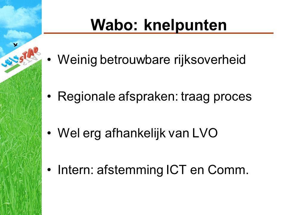 Wabo: knelpunten Weinig betrouwbare rijksoverheid Regionale afspraken: traag proces Wel erg afhankelijk van LVO Intern: afstemming ICT en Comm.