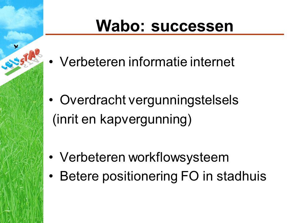 Wabo: successen Verbeteren informatie internet Overdracht vergunningstelsels (inrit en kapvergunning) Verbeteren workflowsysteem Betere positionering FO in stadhuis