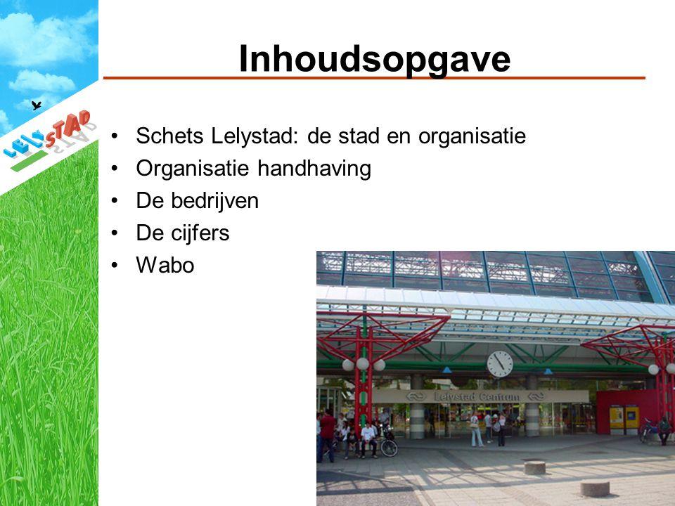 Inhoudsopgave Schets Lelystad: de stad en organisatie Organisatie handhaving De bedrijven De cijfers Wabo