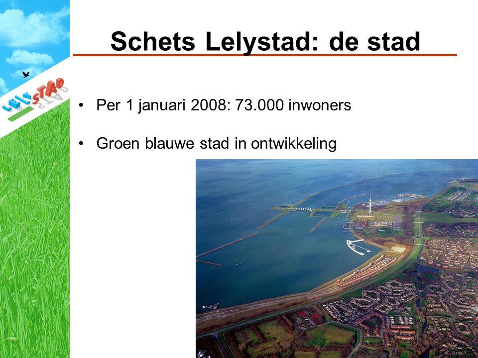 Schets Lelystad: de stad Per 1 januari 2008: 73.000 inwoners Groen blauwe stad in ontwikkeling