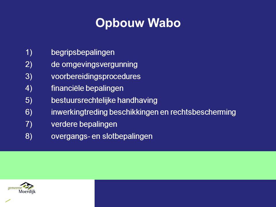 Bevoegd gezag Definitie Wabo Het bestuursorgaan dat bevoegd is tot het nemen van een besluit ten aanzien van een aanvraag om een omgevingsvergunning Wabo kent per project maar 1 bevoegd gezag Hoofdregel BG staat in Wabo, uitzonderingen in Besluit omgevingsrecht