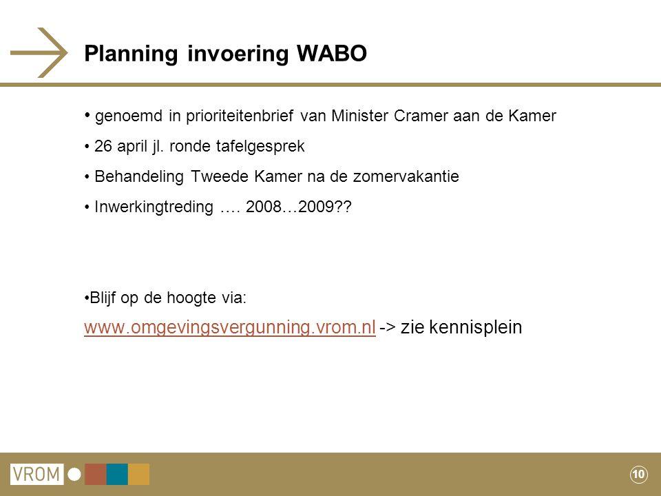 10 Planning invoering WABO genoemd in prioriteitenbrief van Minister Cramer aan de Kamer 26 april jl. ronde tafelgesprek Behandeling Tweede Kamer na d