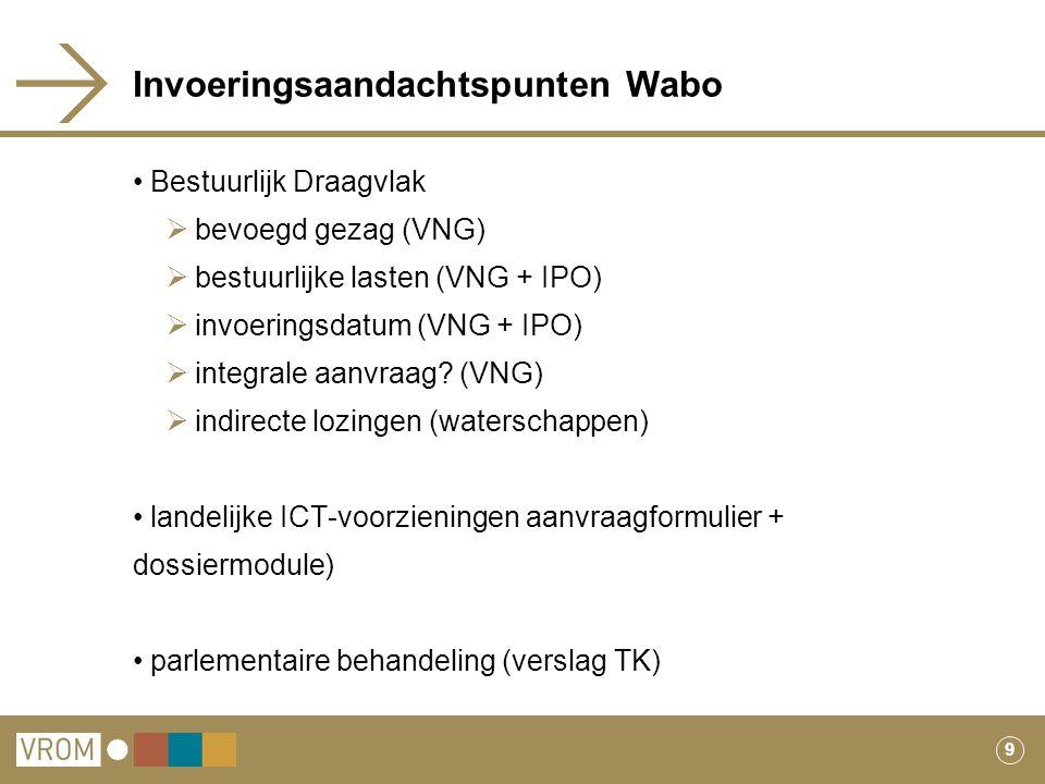 9 Invoeringsaandachtspunten Wabo Bestuurlijk Draagvlak  bevoegd gezag (VNG)  bestuurlijke lasten (VNG + IPO)  invoeringsdatum (VNG + IPO)  integra