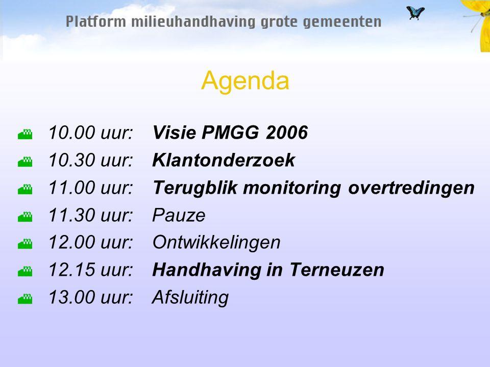 Agenda 10.00 uur:Visie PMGG 2006 10.30 uur:Klantonderzoek 11.00 uur:Terugblik monitoring overtredingen 11.30 uur:Pauze 12.00 uur:Ontwikkelingen 12.15 uur:Handhaving in Terneuzen 13.00 uur:Afsluiting