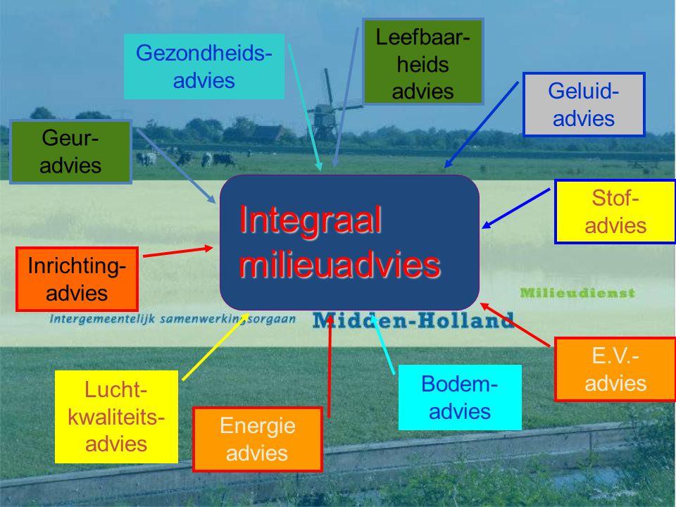 Integraal milieuadvies Geluid- advies Bodem- advies Gezondheids- advies E.V.- advies Lucht- kwaliteits- advies Geur- advies Inrichting- advies Stof- advies Energie advies Leefbaar- heids advies