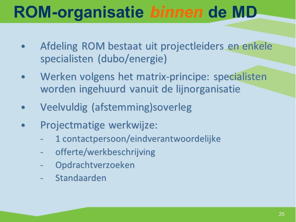 ROM-organisatie binnen de MD Afdeling ROM bestaat uit projectleiders en enkele specialisten (dubo/energie) Afdeling ROM bestaat uit projectleiders en enkele specialisten (dubo/energie) Werken volgens het matrix-principe: specialisten worden ingehuurd vanuit de lijnorganisatie Werken volgens het matrix-principe: specialisten worden ingehuurd vanuit de lijnorganisatie Veelvuldig (afstemming)soverleg Veelvuldig (afstemming)soverleg Projectmatige werkwijze: Projectmatige werkwijze: -1 contactpersoon/eindverantwoordelijke -offerte/werkbeschrijving -Opdrachtverzoeken -Standaarden 25
