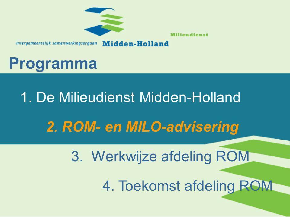 StvZ regio Midden-Holland: Sterk groeiend Elke gemeente maakt structureel gebruik van ROM advisering 9 van de 13 gemeenten hebben (nagenoeg) al hun ROM-advisering bij de MD ondergebracht Voor 6 gemeenten wordt gebiedsgericht milieubeleid verzorgd In 2007 definitieve inbedding in organisatie 28