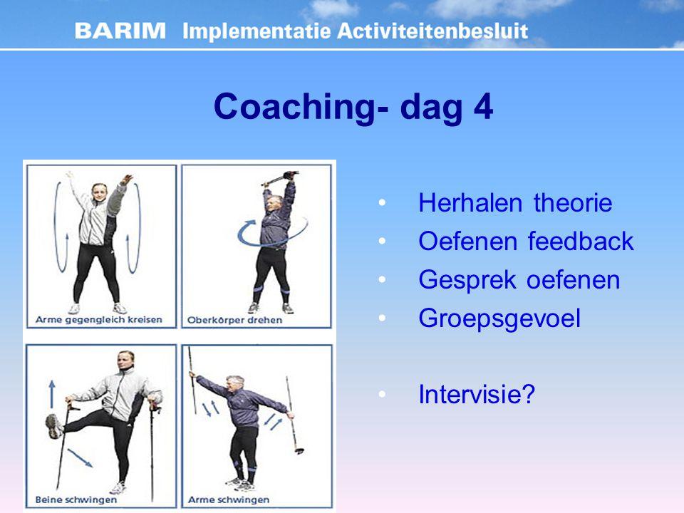 Coaching- dag 4 Herhalen theorie Oefenen feedback Gesprek oefenen Groepsgevoel Intervisie