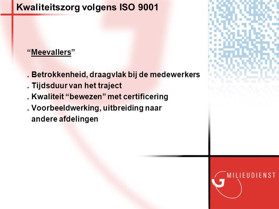 Kwaliteitszorg volgens ISO 9001 Meevallers . Betrokkenheid, draagvlak bij de medewerkers.