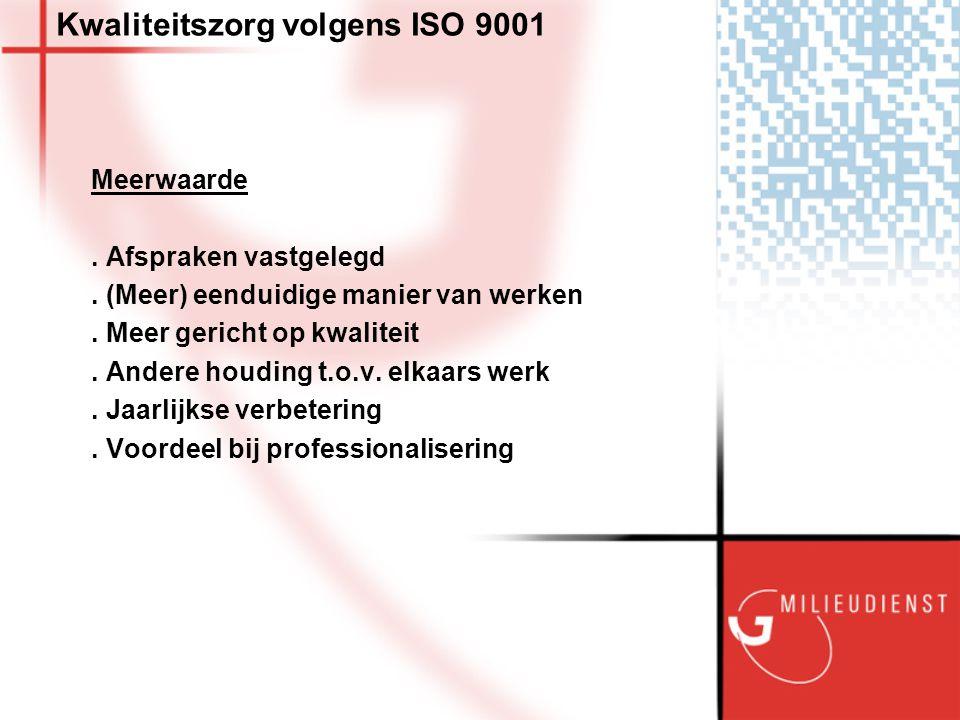 Kwaliteitszorg volgens ISO 9001 Meerwaarde. Afspraken vastgelegd.