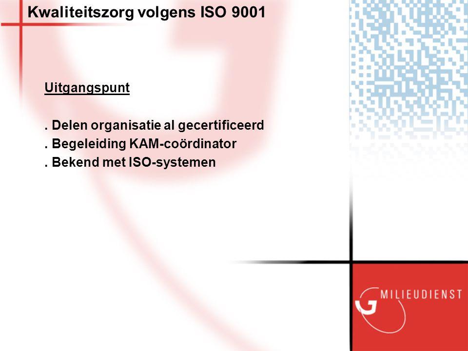 Kwaliteitszorg volgens ISO 9001 Uitgangspunt. Delen organisatie al gecertificeerd.