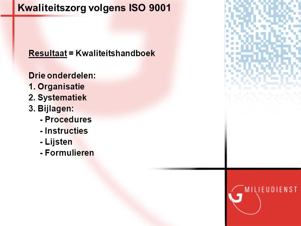 Kwaliteitszorg volgens ISO 9001 Resultaat = Kwaliteitshandboek Drie onderdelen: 1.