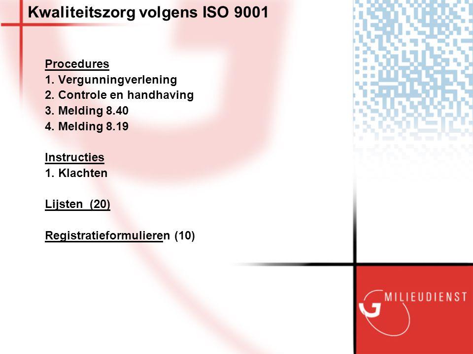 Kwaliteitszorg volgens ISO 9001 Procedures 1. Vergunningverlening 2.