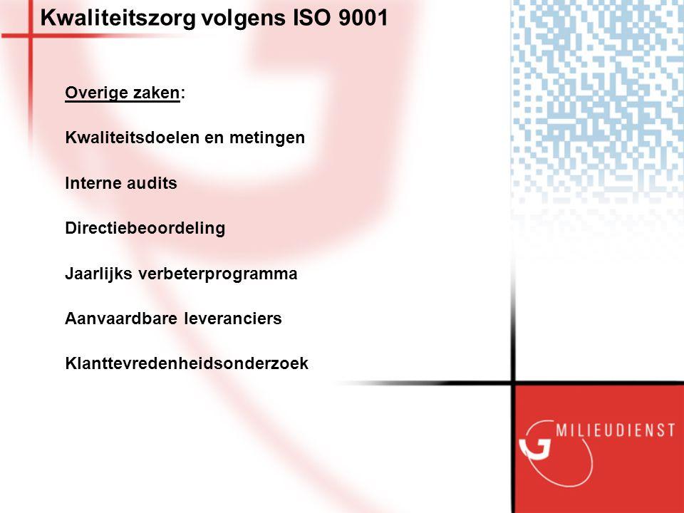 Kwaliteitszorg volgens ISO 9001 Overige zaken: Kwaliteitsdoelen en metingen Interne audits Directiebeoordeling Jaarlijks verbeterprogramma Aanvaardbare leveranciers Klanttevredenheidsonderzoek