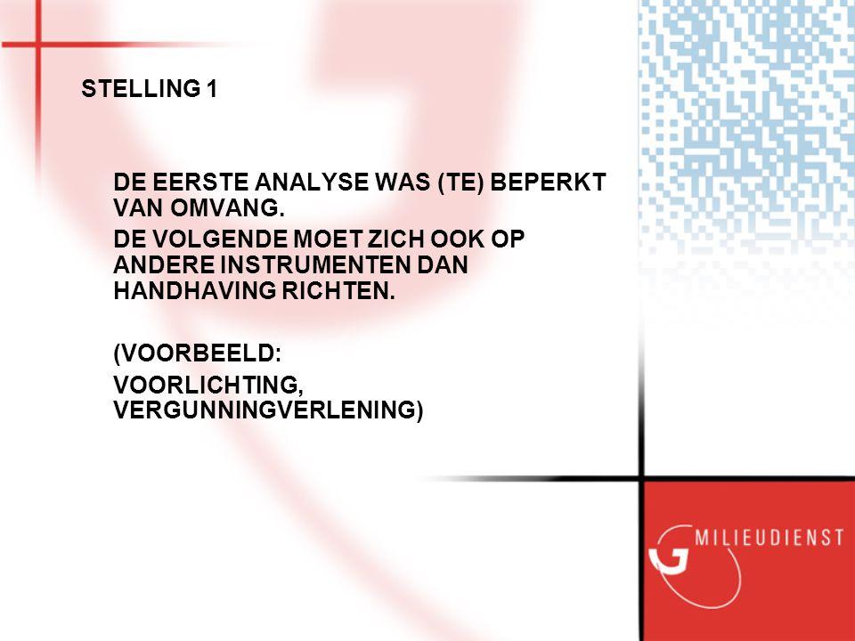 STELLING 1 DE EERSTE ANALYSE WAS (TE) BEPERKT VAN OMVANG.