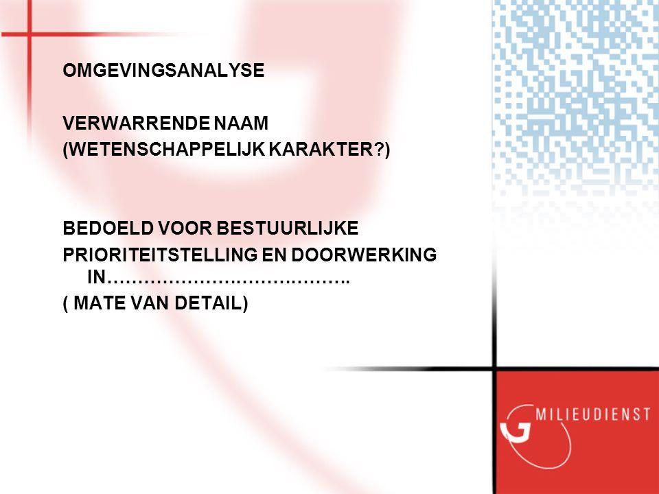 Het HUIS (prioriteiten en proces) Milieubeleidsplan 2004-2008 Handhavingsnota Handhaven met beleid 2004-2008 Jaarprogramma's Bodem VenH MMT Kwaliteitshandboeken en projectplannen MMT Bodem VenH Probleemanalyse