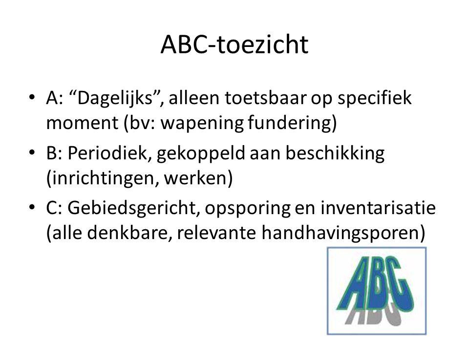 """ABC-toezicht A: """"Dagelijks"""", alleen toetsbaar op specifiek moment (bv: wapening fundering) B: Periodiek, gekoppeld aan beschikking (inrichtingen, werk"""