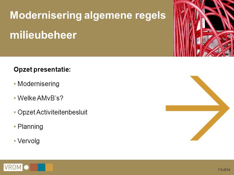 7-9-2014 Modernisering algemene regels milieubeheer Opzet presentatie: Modernisering Welke AMvB's? Opzet Activiteitenbesluit Planning Vervolg