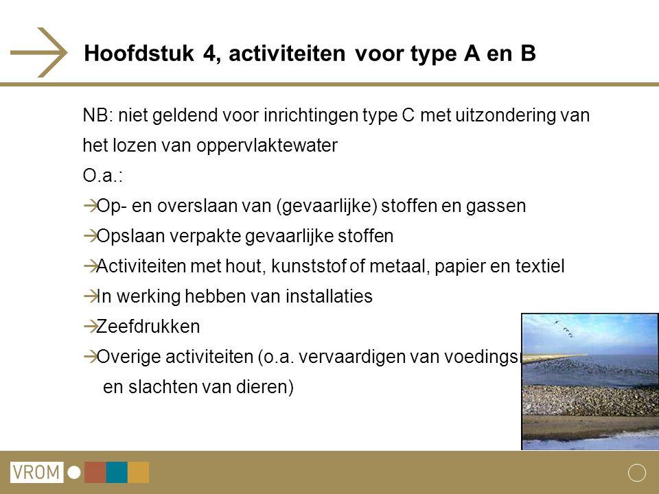 Hoofdstuk 4, activiteiten voor type A en B NB: niet geldend voor inrichtingen type C met uitzondering van het lozen van oppervlaktewater O.a.:  Op- e