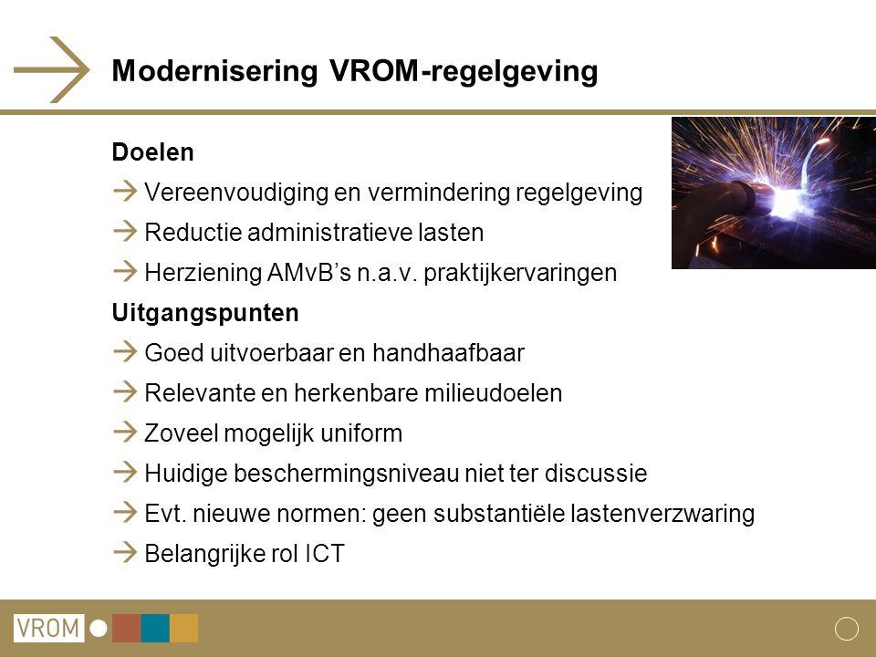 Modernisering VROM-regelgeving Doelen  Vereenvoudiging en vermindering regelgeving  Reductie administratieve lasten  Herziening AMvB's n.a.v. prakt