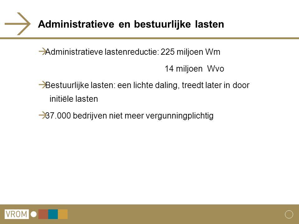 Administratieve en bestuurlijke lasten  Administratieve lastenreductie: 225 miljoen Wm 14 miljoen Wvo  Bestuurlijke lasten: een lichte daling, treed
