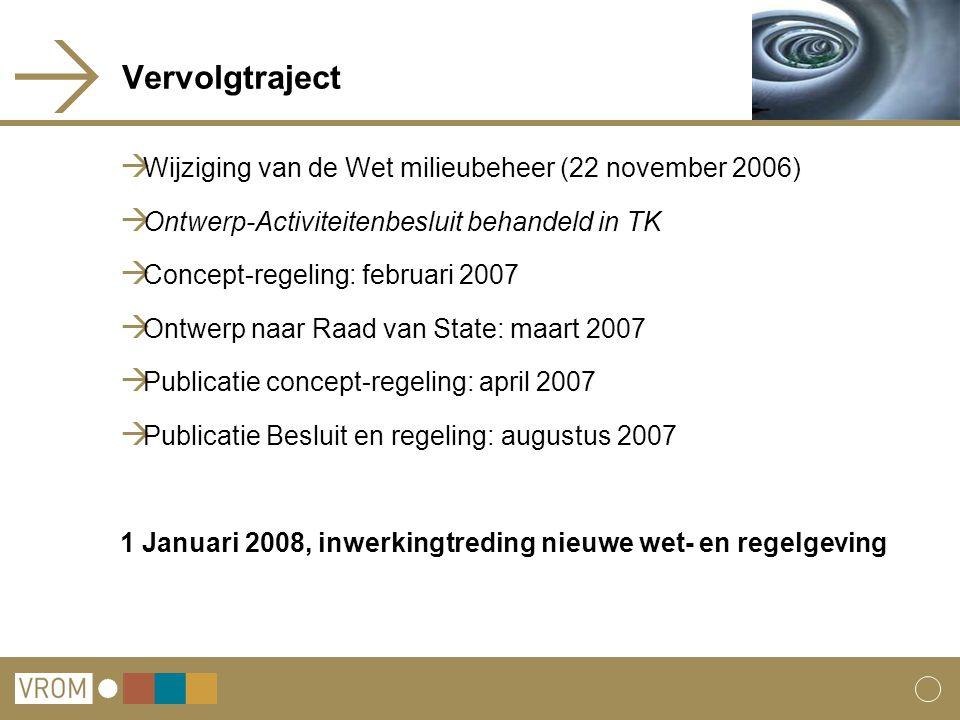 Vervolgtraject  Wijziging van de Wet milieubeheer (22 november 2006)  Ontwerp-Activiteitenbesluit behandeld in TK  Concept-regeling: februari 2007