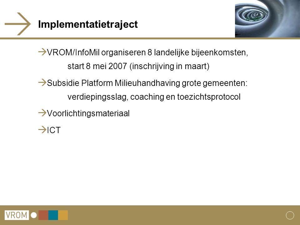 Implementatietraject  VROM/InfoMil organiseren 8 landelijke bijeenkomsten, start 8 mei 2007 (inschrijving in maart)  Subsidie Platform Milieuhandhav