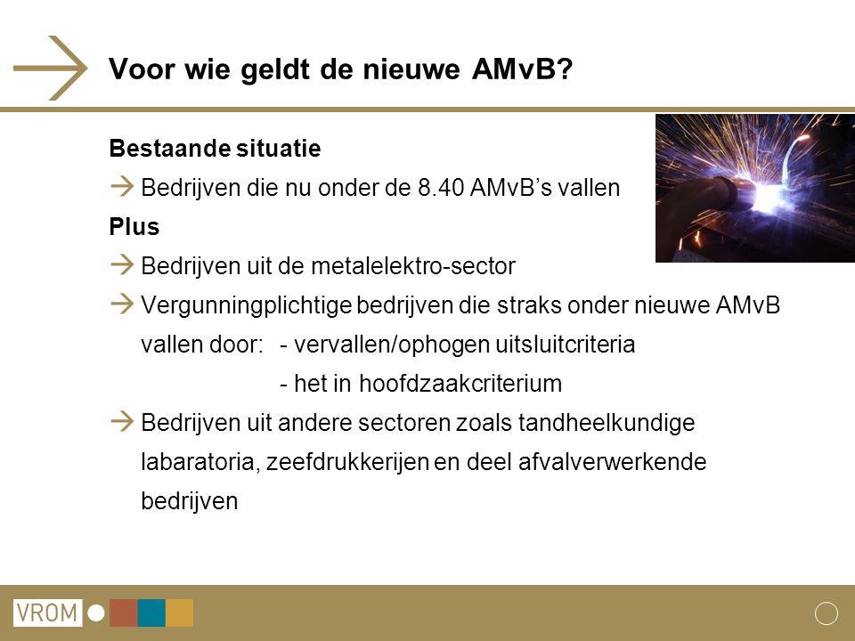Voor wie geldt de nieuwe AMvB? Bestaande situatie  Bedrijven die nu onder de 8.40 AMvB's vallen Plus  Bedrijven uit de metalelektro-sector  Vergunn