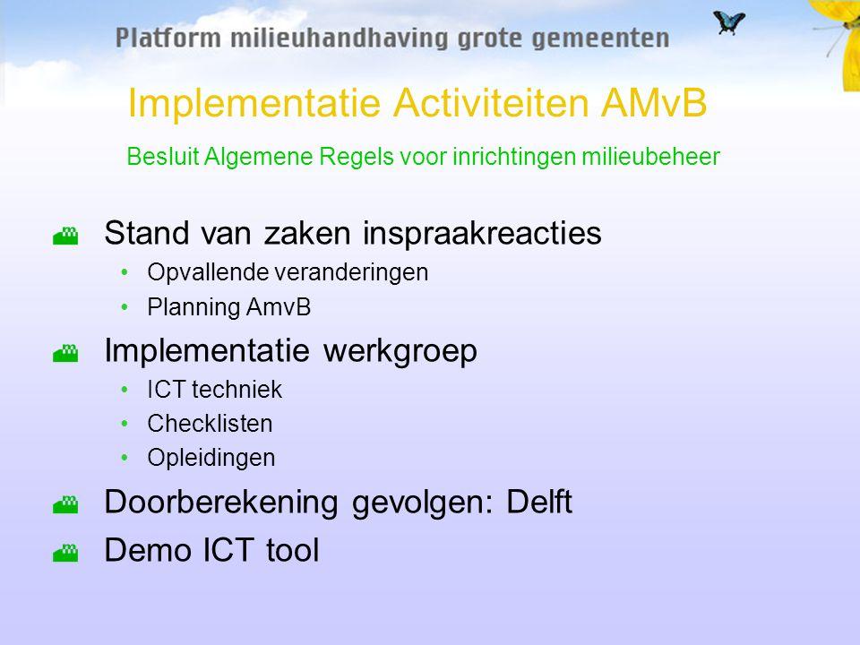 Implementatie Activiteiten AMvB Besluit Algemene Regels voor inrichtingen milieubeheer Stand van zaken inspraakreacties Opvallende veranderingen Planning AmvB Implementatie werkgroep ICT techniek Checklisten Opleidingen Doorberekening gevolgen: Delft Demo ICT tool